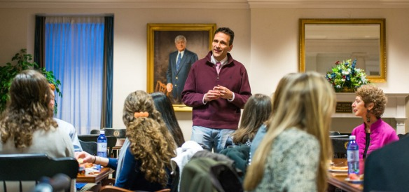 Professors Alan Perry (center) and Elizabeth Richardson Viti (right) meet with first-year language scholars.